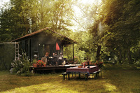 Jérôme Dreyfuss and Isabel Marant's rustic cabin on the Loing River in Fountainebleau, France
